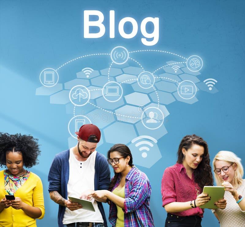 Het sociale Concept van de de Verbindingstechnologie van Netwerkinternet stock afbeelding