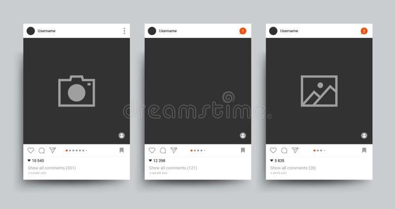 Het sociale geïsoleerde malplaatje van de netwerkfoto kader Beeld het posten voorzien van een netwerk vectorconcept vector illustratie