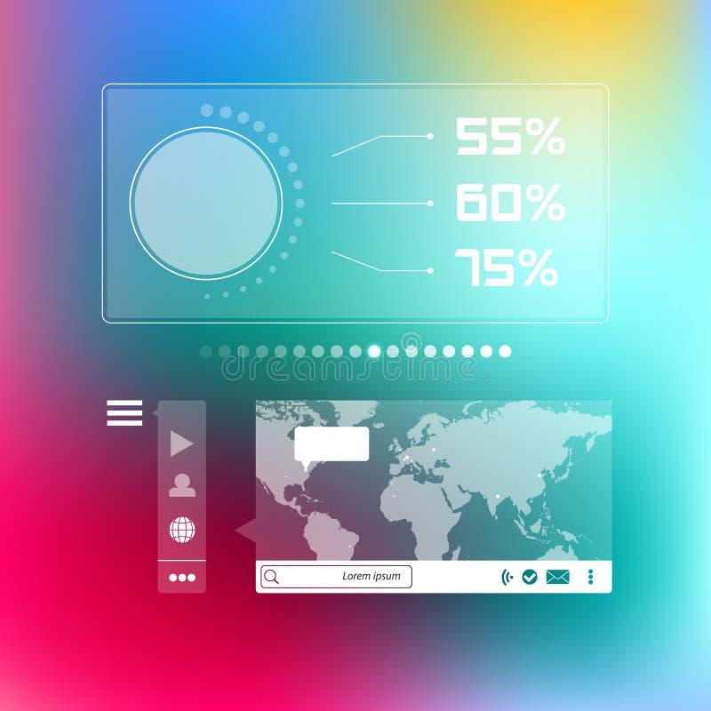 Het sociale infographic malplaatje van de wereldkaart royalty-vrije illustratie