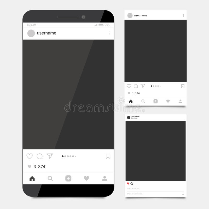 Het sociale kader van de netwerkfoto Instagram Model stock illustratie
