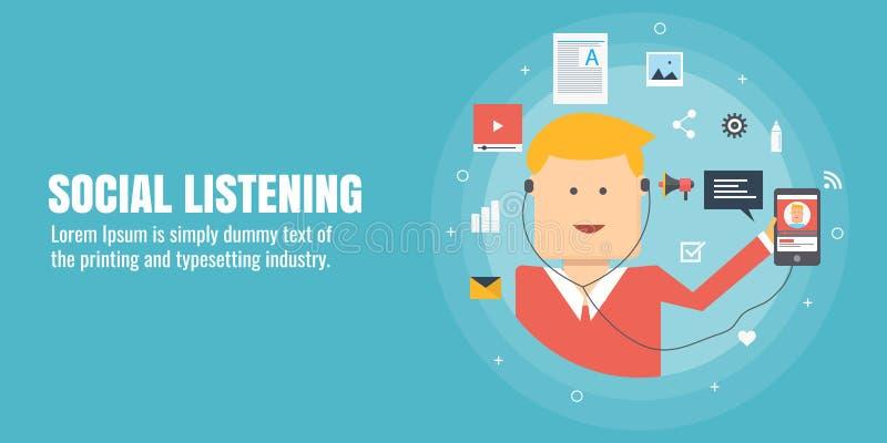 Het sociale luisteren, voorzien van een netwerk die, mededeling, mens aan het mobiele podcasting luisteren Vlakke ontwerp vectorb vector illustratie