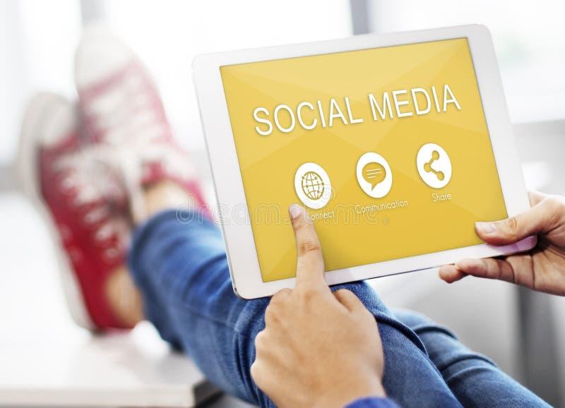 Het sociale Media Communication-Aandeel verbindt Concept royalty-vrije stock foto's