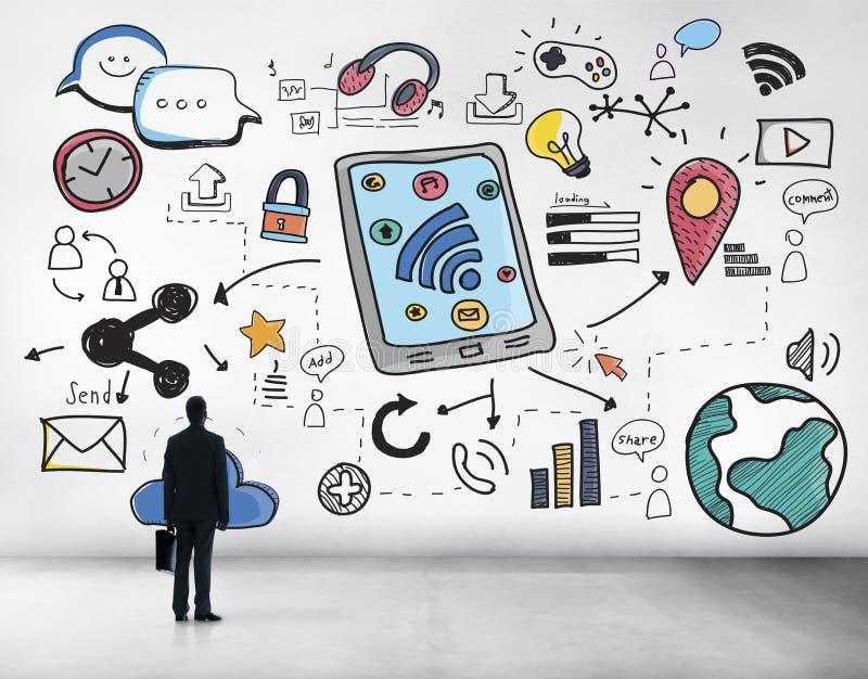Het sociale Media Draadloze Online Concept van de Voorzien van een netwerkverbinding royalty-vrije stock afbeeldingen