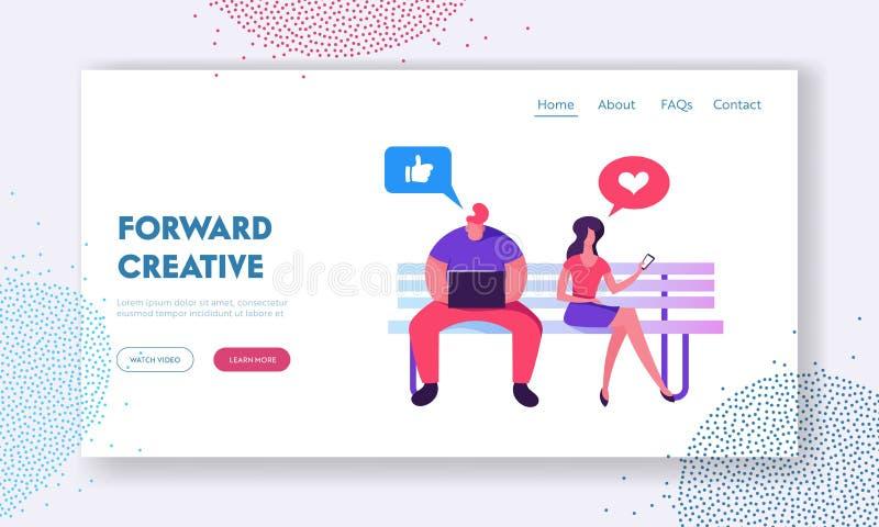 Het sociale Media Landingspagina van de het Voorzien van een netwerkwebsite van L, Man en Vrouwenzitting op Bank met Laptop en Sm stock illustratie