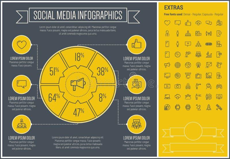 Het sociale Media Malplaatje van Infographic van het Lijnontwerp stock illustratie