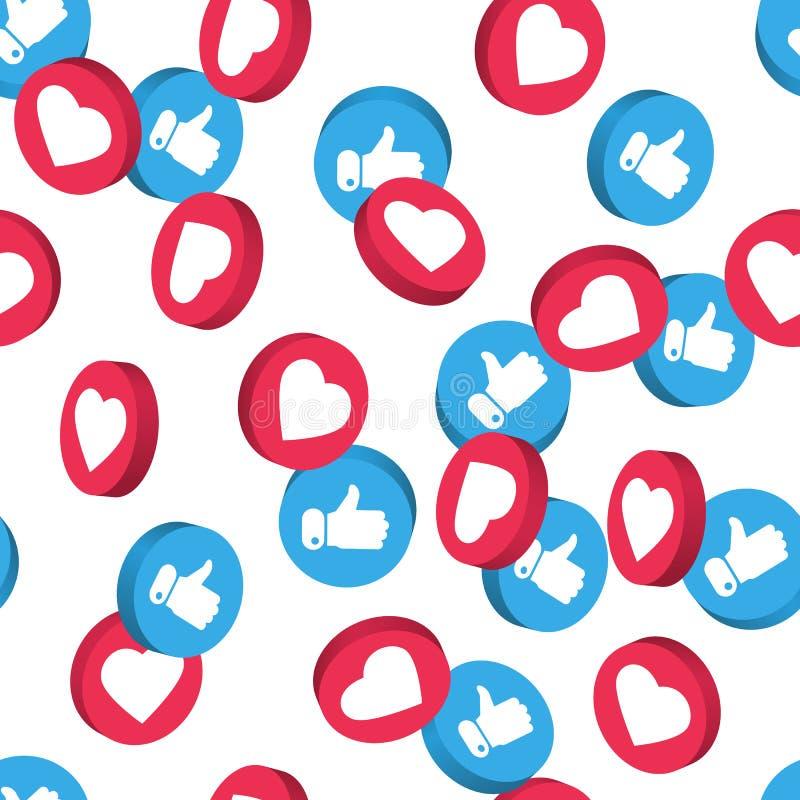 Het sociale naadloze patroon van het netwerksymbool Als en duimen op pictogrammen op transparante achtergrond worden geïsoleerd d royalty-vrije illustratie