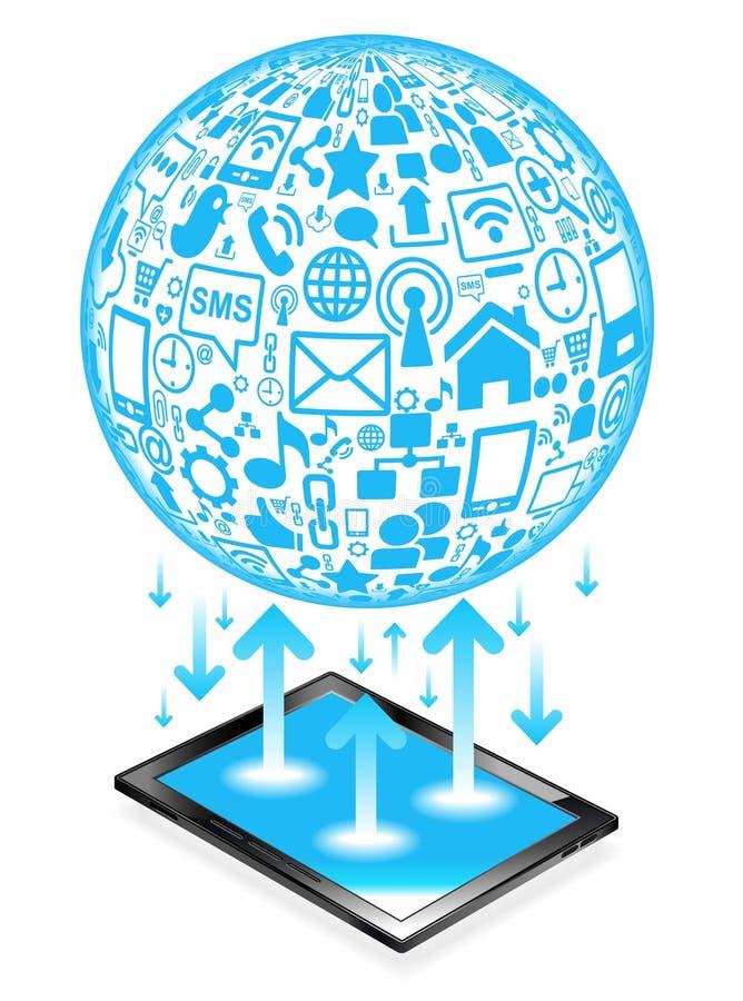 Het sociale netwerk van de tablet vector illustratie
