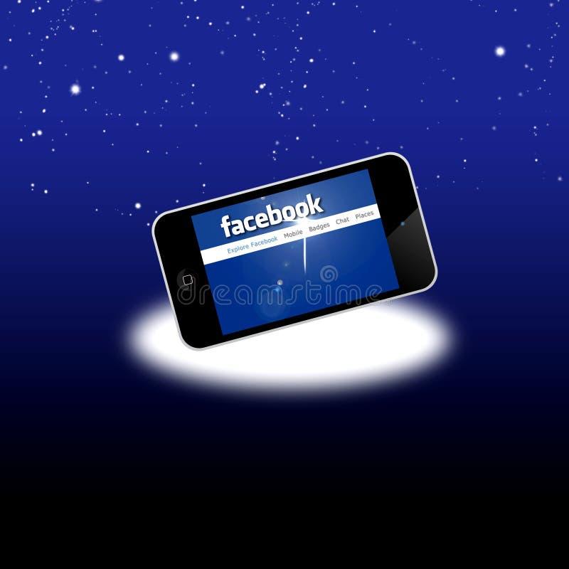 Het sociale netwerk van Facebook op mobiele apparatuur stock illustratie