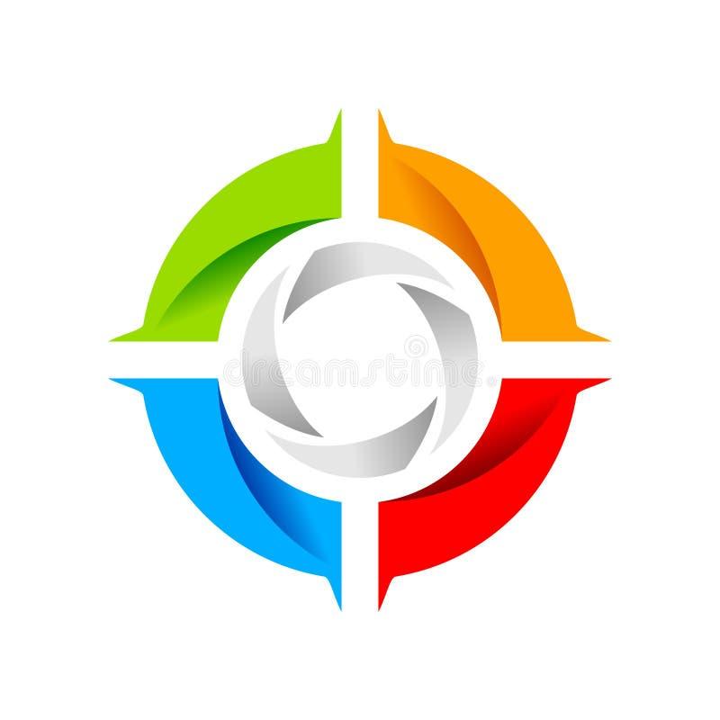 Het sociale Symbool Logo Design van het Blindwiel vector illustratie