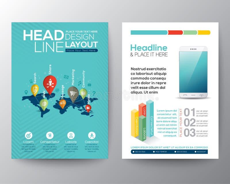 Het sociale van de de Brochurevlieger van het netwerkconcept malplaatje van de het ontwerplay-out stock illustratie