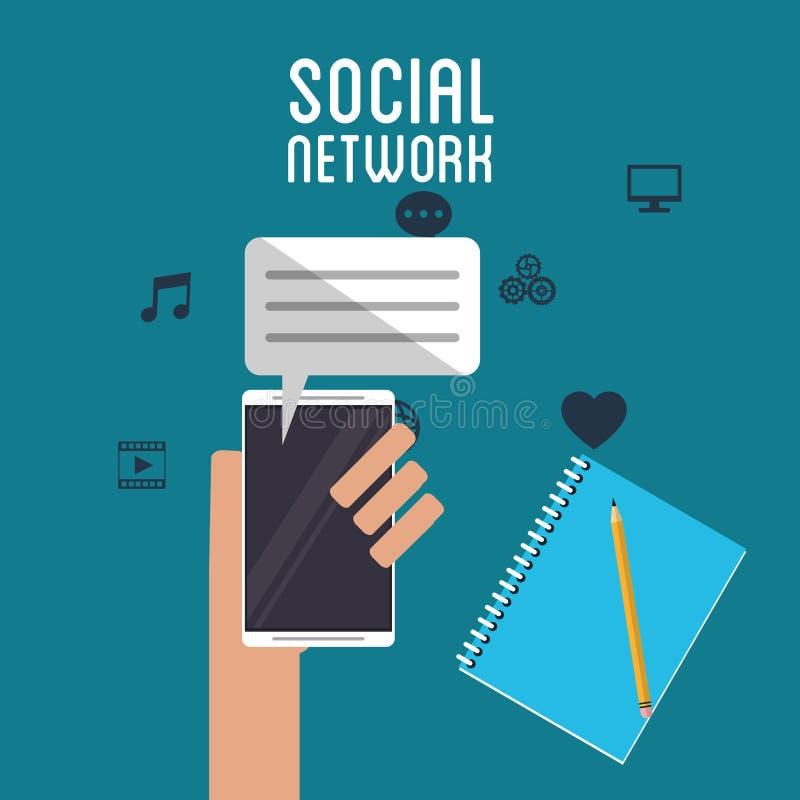 Het sociale van de greepsmartphone van de netwerkhand potlood van het de dialoogboek stock illustratie
