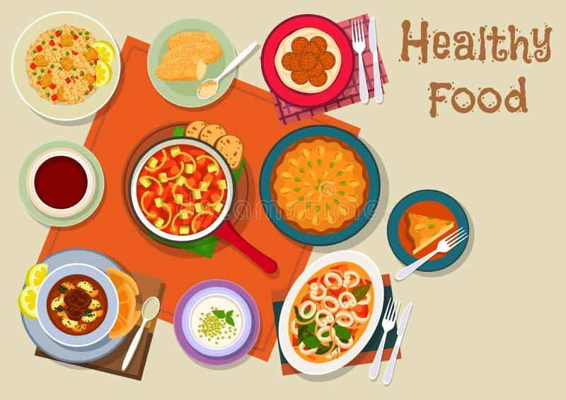 Het Spaanse en Joodse pictogram van het keuken gezonde voedsel royalty-vrije illustratie