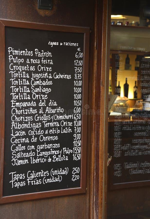Het Spaanse Menu van de Staaf stock afbeelding