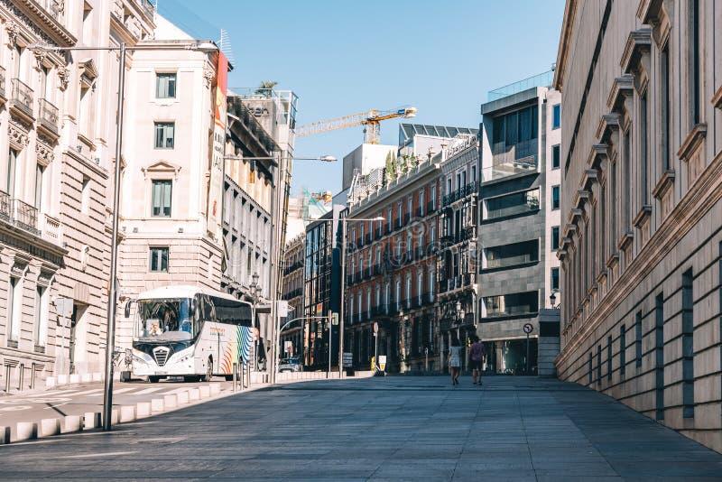 Het Spaanse parlement in de straat van San Jeronimo in Madrid royalty-vrije stock afbeelding