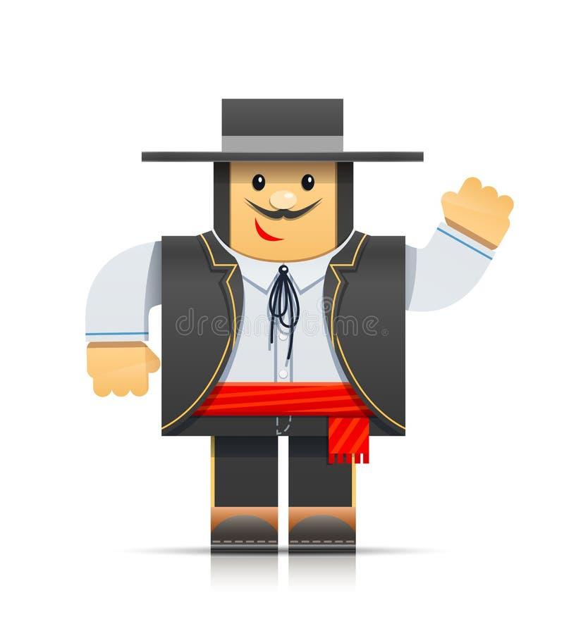 Het Spaanse stuk speelgoed van de mensenorigami stock illustratie