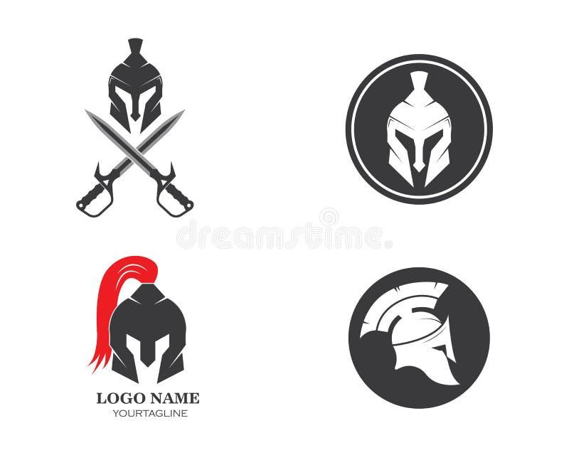 het Spartaanse ontwerp van de het pictogram vectorillustratie van het helmembleem royalty-vrije illustratie