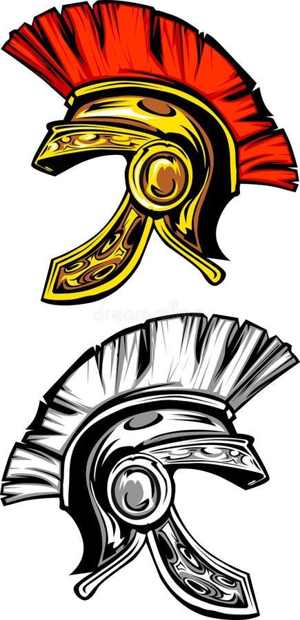 Het Spartaanse/Trojan Embleem van de Helm vector illustratie