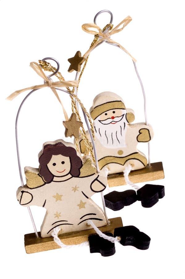 Het speelgoed van Kerstmis. sneeuwman en engel stock afbeelding