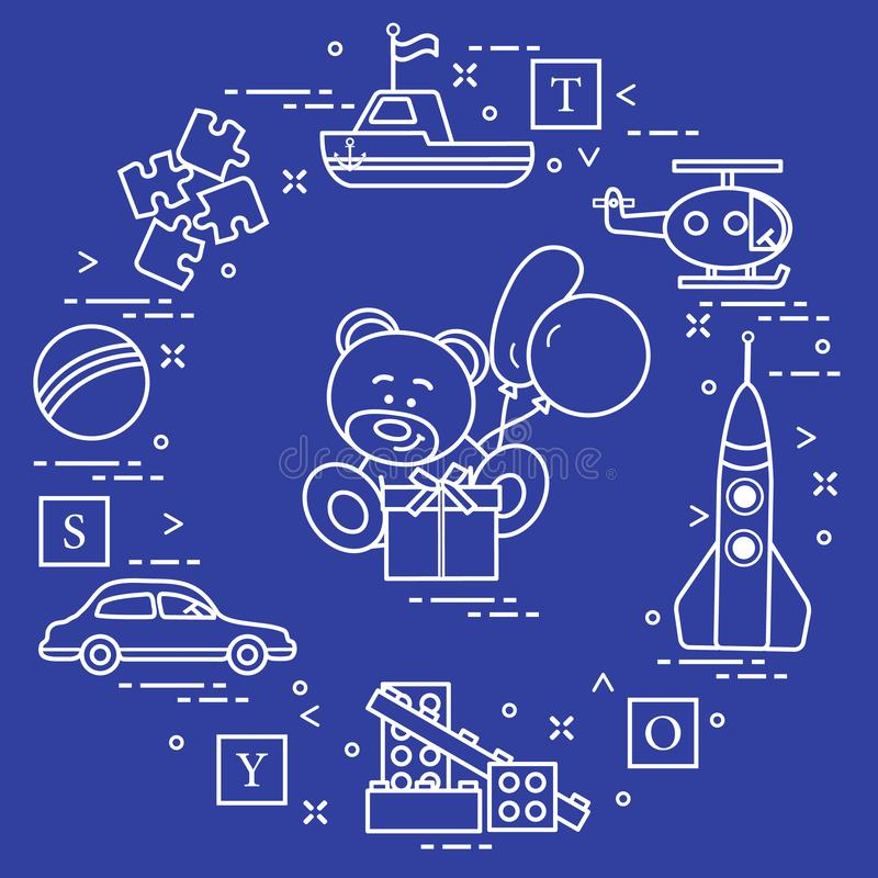 Het speelgoed van kinderen: de auto, draagt, verscheept, helikopter, raket, ontwerper, bal, raadsel, kubussen, gift, ballons Ontw stock illustratie