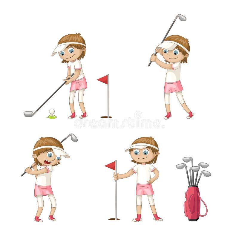 Download Het Speelgolf Van Het Meisje Vector Illustratie - Illustratie bestaande uit beeldverhaal, personen: 114226394