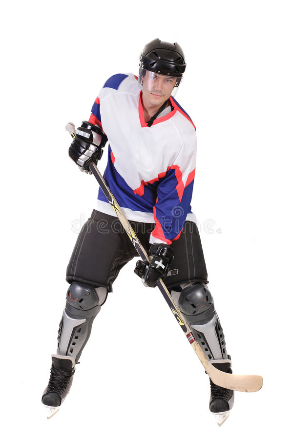 Het speelhockey van de mens royalty-vrije stock afbeelding