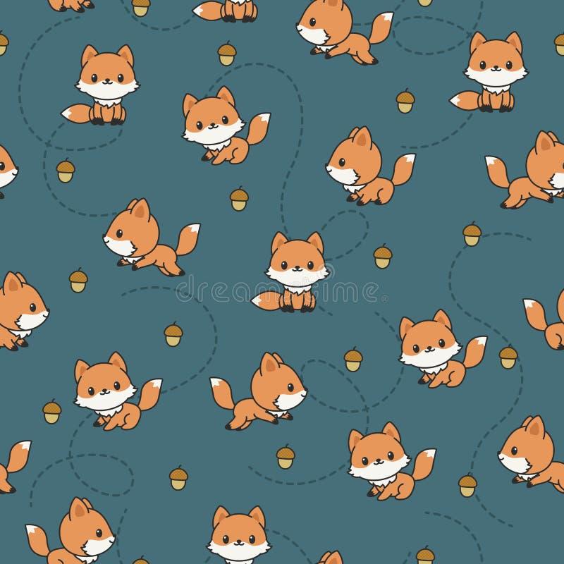 Het speelse naadloze patroon van babyvossen stock illustratie