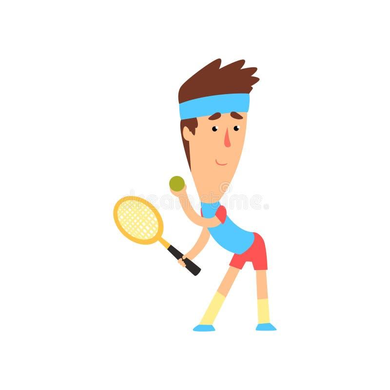 Het speeltennis van de mens Jonge speler in blauwe t-shirt, hoofdband en rode borrels met racket en bal in handen Actieve sporten vector illustratie