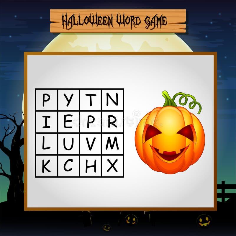 Het spel Halloween vindt het woord van pompoen royalty-vrije illustratie