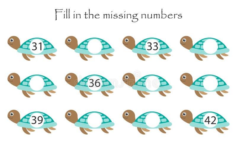 Het spel met schildpadden voor kinderen, vult de ontbrekende aantallen, middenniveau, onderwijsspel voor jonge geitjes in, de act vector illustratie