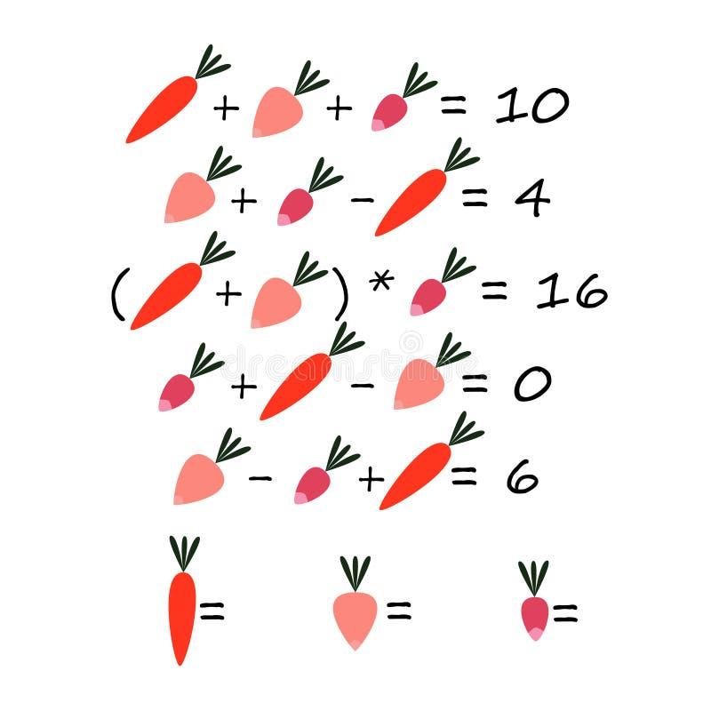 Het spel tellende groenten van kinderen stock illustratie