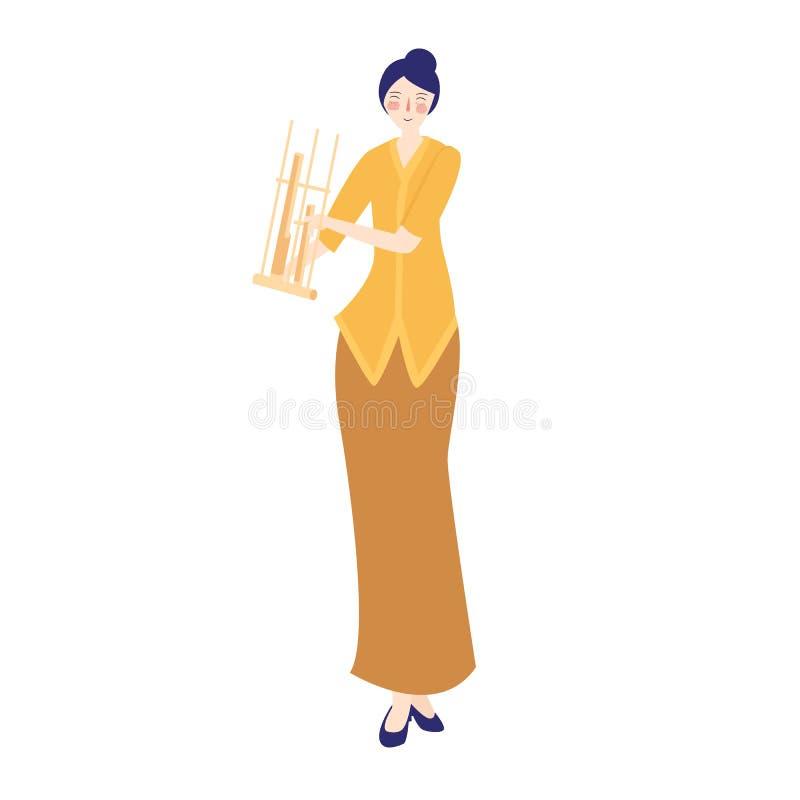 Het spel traditioneel muzikaal instrument van de Angklungvrouw van bamboe, wijfje die het traditionele kostuum West- van Java Ind stock illustratie