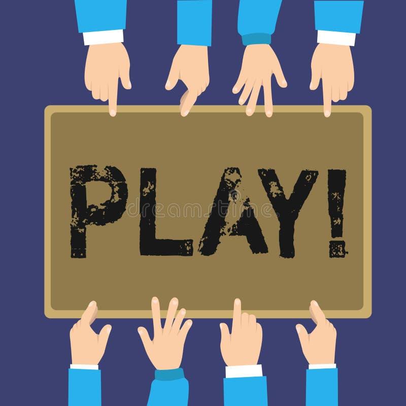 Het Spel van de handschrifttekst De conceptenbetekenis neemt in activiteit voor plezier en recreatie in dienst die pretvrienden h vector illustratie