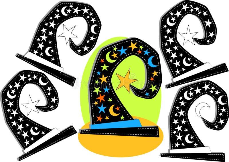 Het spel van de het silhouetvorm van de heksenhoed stock illustratie