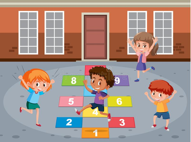 Het spel van de kinderen playin wiskunde royalty-vrije illustratie