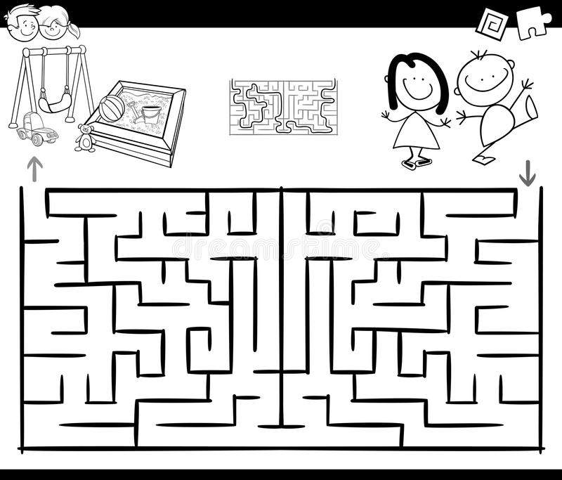 Het spel van de labyrintactiviteit met jonge geitjes en speelplaats vector illustratie