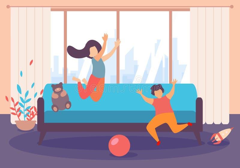 Het Spel van de het Meisjessprong van de kinderenjongen binnen Woonkamer stock illustratie