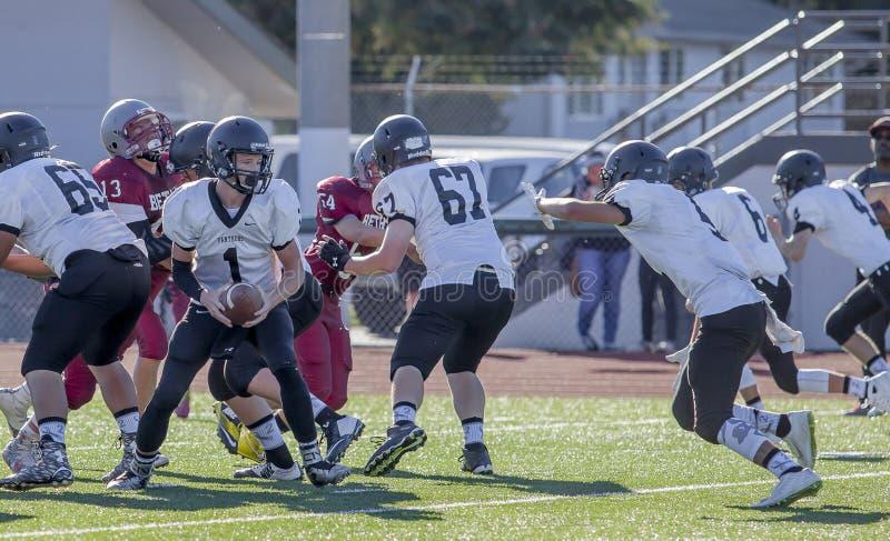 Het Spel van de middelbare schoolvoetbal royalty-vrije stock afbeelding