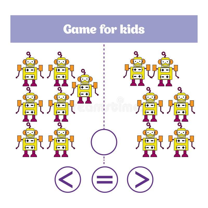 Het spel van de onderwijslogica voor peuterjonge geitjes Kies het correcte antwoord Meer, minder of gelijke Vectorillustratie The stock illustratie