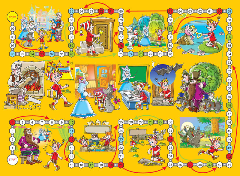 Het spel van de raad âBuratinoâ stock illustratie