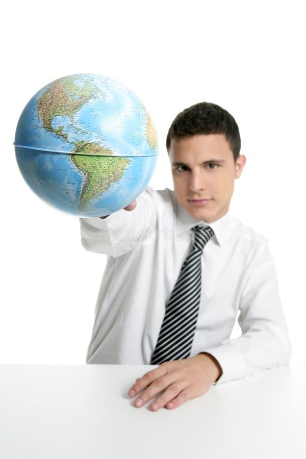 Het spel van de zakenman met globaal kaartgebied royalty-vrije stock afbeeldingen