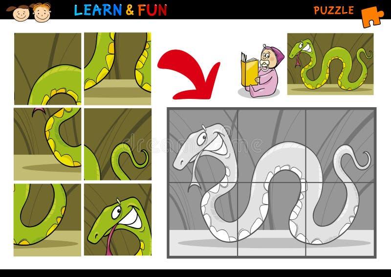 Het spel van het de slangraadsel van het beeldverhaal vector illustratie