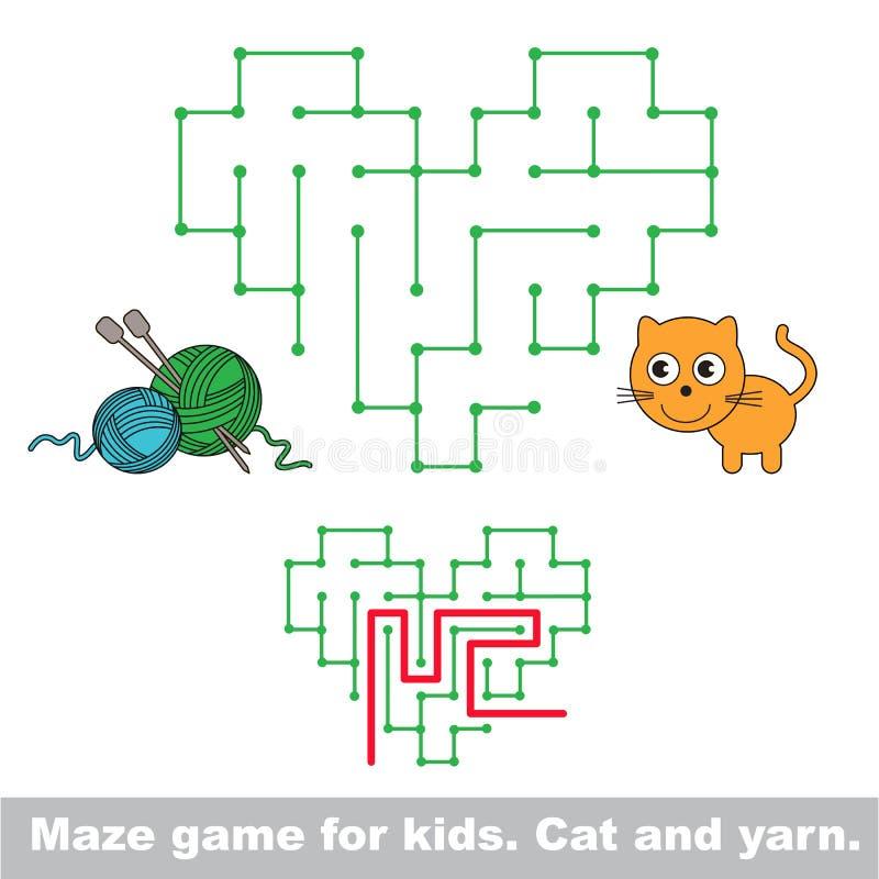 Het spel van het jong geitjelabyrint De kat wil met garen spelen vector illustratie