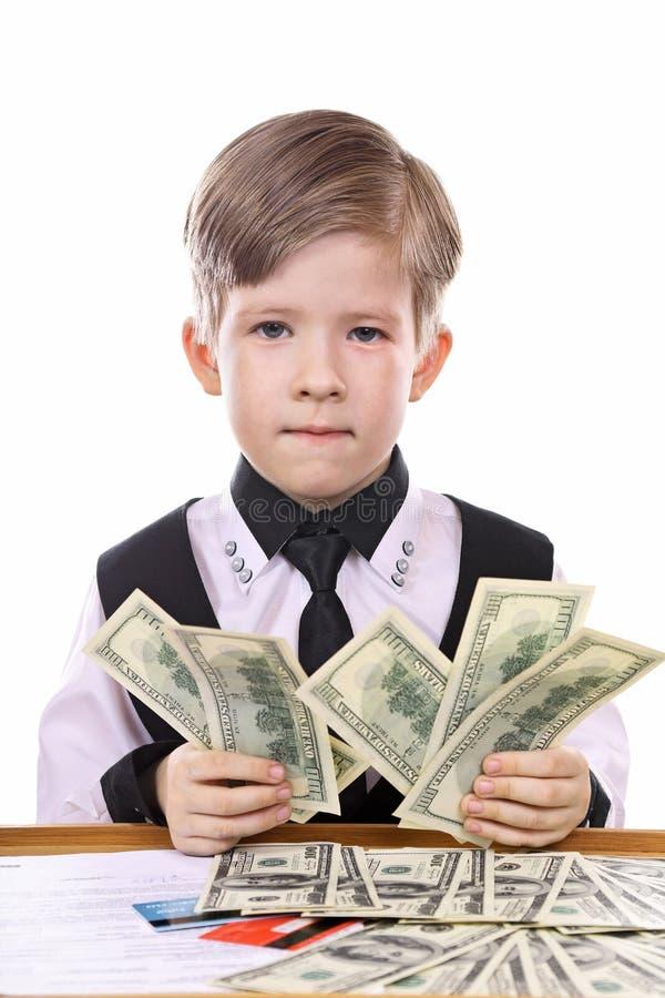 Het spel van moderne kinderen - de bankier, financier stock foto's