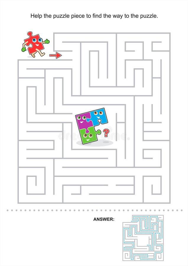 Het spel van het labyrint voor jonge geitjes stock illustratie