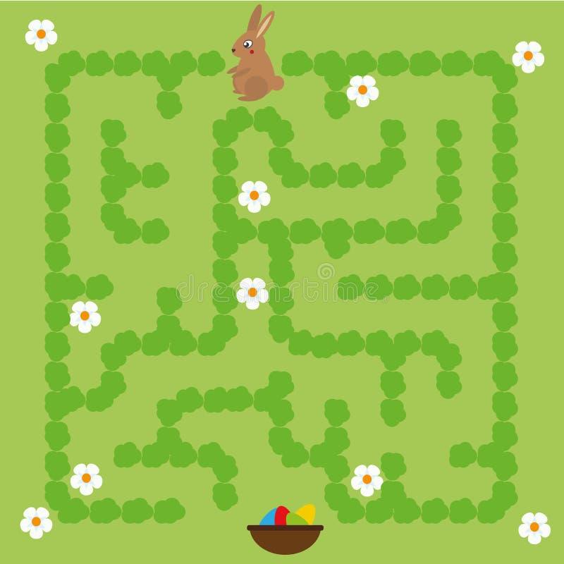 Het spel van het labyrint voor kinderen Het hulpkonijntje vindt manier aan paaseieren vector illustratie