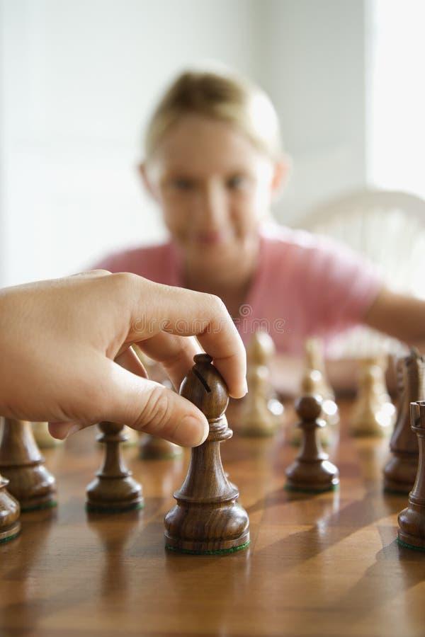 Het spel van het schaak. stock foto