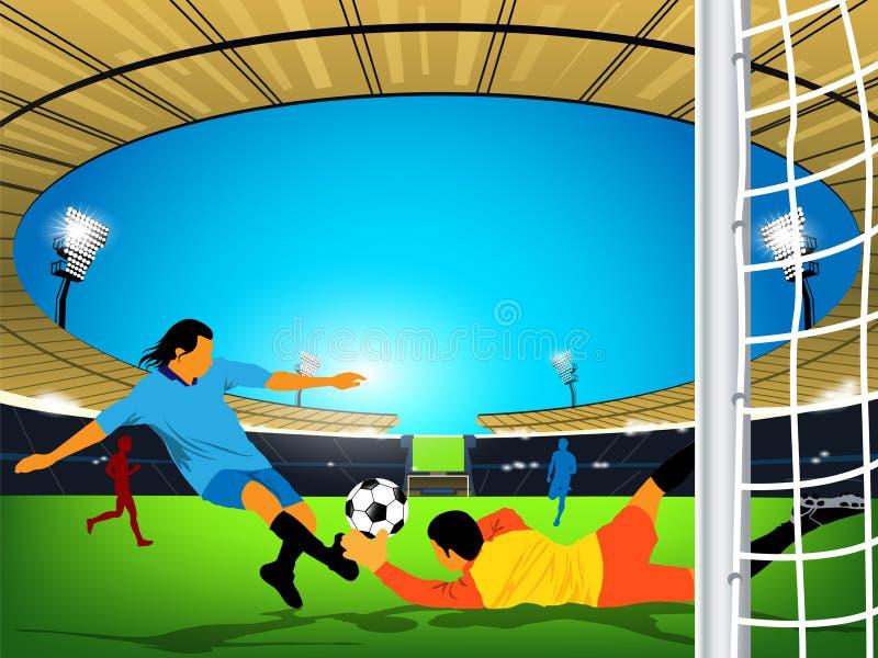 Het spel van het voetbal in een openluchtstadion. Schop bij doel royalty-vrije illustratie