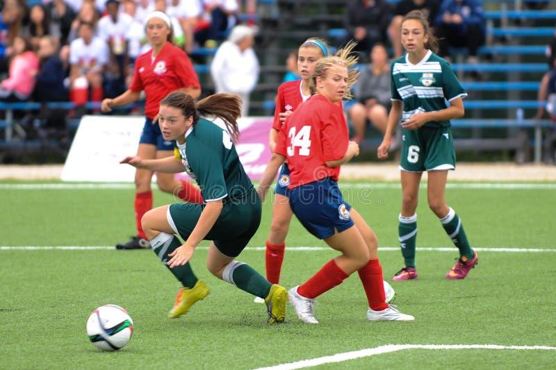 Het spel van het vrouwenvoetbal stock afbeelding