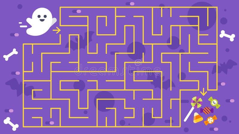 Het spel van jonge geitjeshalloween Kinderen` s labyrint vector illustratie
