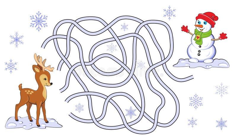 Het spel van het Kerstmislabyrint royalty-vrije illustratie